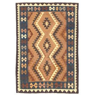 Herat Oriental Afghan Hand-woven Wool Mimana Kilim (3'2 x 4'7)