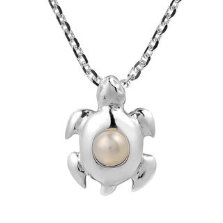 Noble Andaman Turtle Freshwater White Pearl Sterling Silver Necklace (Thailand)