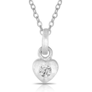 Collete Z Cubic Zirconia Sterling Silver Rhodium Plated Brushed Bezzel Set Heart Shape Pendant