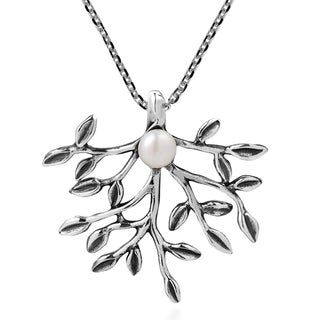Synthetic Coral Bloom White Pearl Sterling Silver Necklace (Thailand) (Option: Handmade) https://ak1.ostkcdn.com/images/products/12357144/P19184404.jpg?_ostk_perf_=percv&impolicy=medium