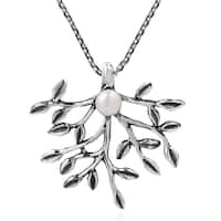 Handmade Synthetic Coral Bloom White Pearl Sterling Silver Necklace (Thailand)