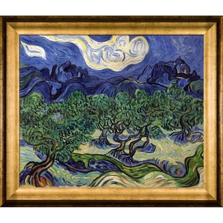 Vincent Van Gogh 'Olive Trees with the Alpilles in the Background' Hand Painted Framed Canvas Art