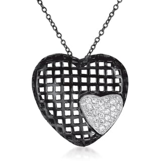 Collete Z Cubic Zirconia Sterling Silver Black Plated Heart Shape Lace Pendant