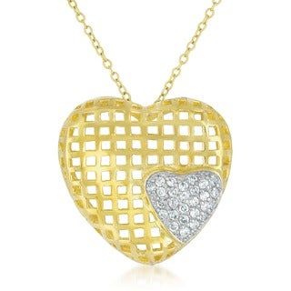 Collete Z Cubic Zirconia Sterling Silver Gold Plated Heart Shape Lace Pendant