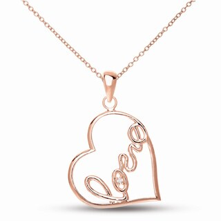 Collete Z CZ SS Rose Plated 'Love' Heart Shape Pendant