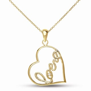 Collete Z CZ SS Gold Plated 'Love' Heart Shape Pendant