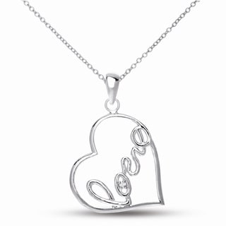 Collete Z CZ SS Rhodium Plated 'Love' Heart Shape Pendant