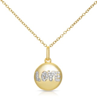 Collete Z Cubic Zirconia Sterling Silver Gold Plated 'LOVE' Disc Pendant