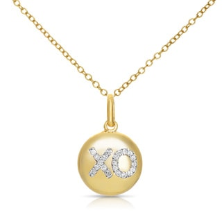 Collete Z Cubic Zirconia Sterling Silver Gold Plated 'XO' Disc Pendant