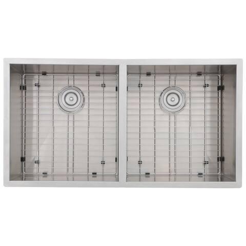 Zero Edge Prime 18-gauge Stainless Steel Handcrafted 36-15/16 x 19-15/16 x 10-5/16 / 10-5/16 in. D Double Basin Sink