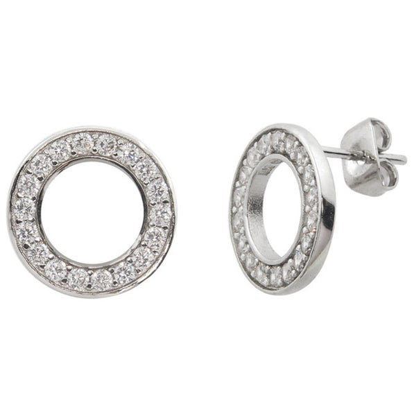 ff58cee96 Eternally Haute Brass and Cubic Zirconia Pave Circle Stud Earrings - Silver