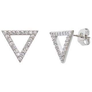 Eternally Haute Pave Triangle Stud Earrings - Silver