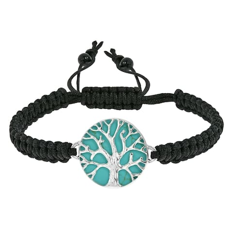Handmade Mystical Tree of Life Stone Inlay Adjustable Bracelet (Thailand)