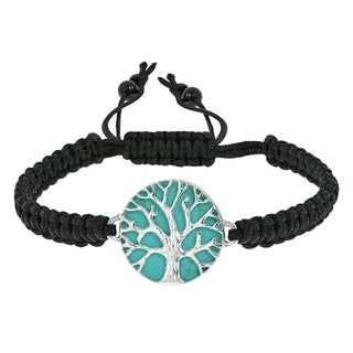 Mystical Tree of Life Stone Inlay Adjustable Bracelet (Thailand)