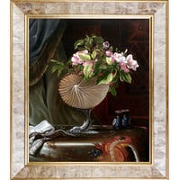 Martin Johnson Heade 'Still Life with Apple Blossoms in a Nautilus Shell, 1870' Hand Painted Framed Canvas Art