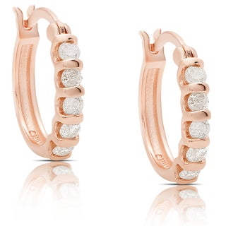 Finesque Rose Gold Over Sterling Silver 3/4ct TDW Diamond Hoop Earrings