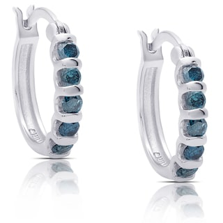 Finesque Sterling Silver 3/4ct TDW Blue Diamond Hoop Earrings