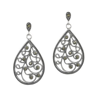 Queenberry Sterling Silver Marcasite Teardrop Filigree Vine Leaf Flower Dangle Stud Earring Post