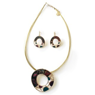 Colorful Stain Glass Necklace and Earrings Set