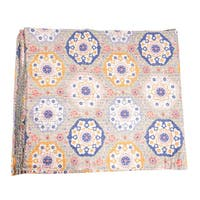 Vintage Kantha Indian Handmade Grey Floral Throw Bedspread (India)