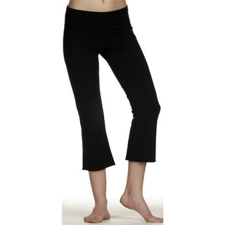 Women's Black Cotton/Spandex Capri Pant
