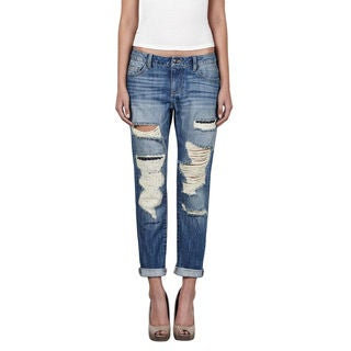Hidden Ripped Slim Boyfriend Jeans