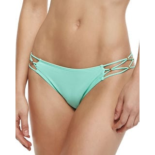PilyQ Women's Keshi Mint Green Braided Full Bikini Bottom