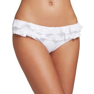 PilyQ Bahama White Ruffle Full Bikini Bottom