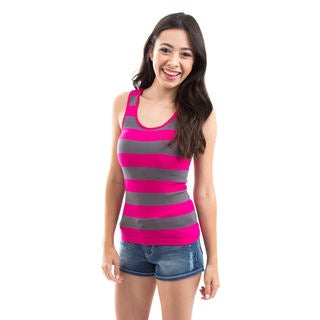 Soho Apparel Women's Junior Rib Racerback Grey Striped Tank Top