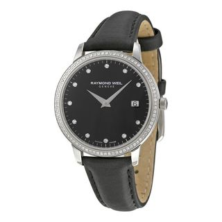 Raymond Weil Women's 5388-SLS-20081 'Toccata' Diamond Black Leather Watch
