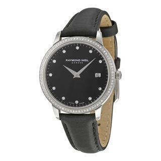 Raymond Weil Women's 5388-SLS-20081 'Toccata' Diamond Black Leather Watch|https://ak1.ostkcdn.com/images/products/12357872/P19185014.jpg?impolicy=medium