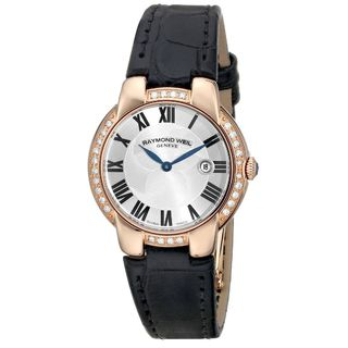 Raymond Weil Women's 5229-PCS-01659 'Jasmine' Black Leather Watch