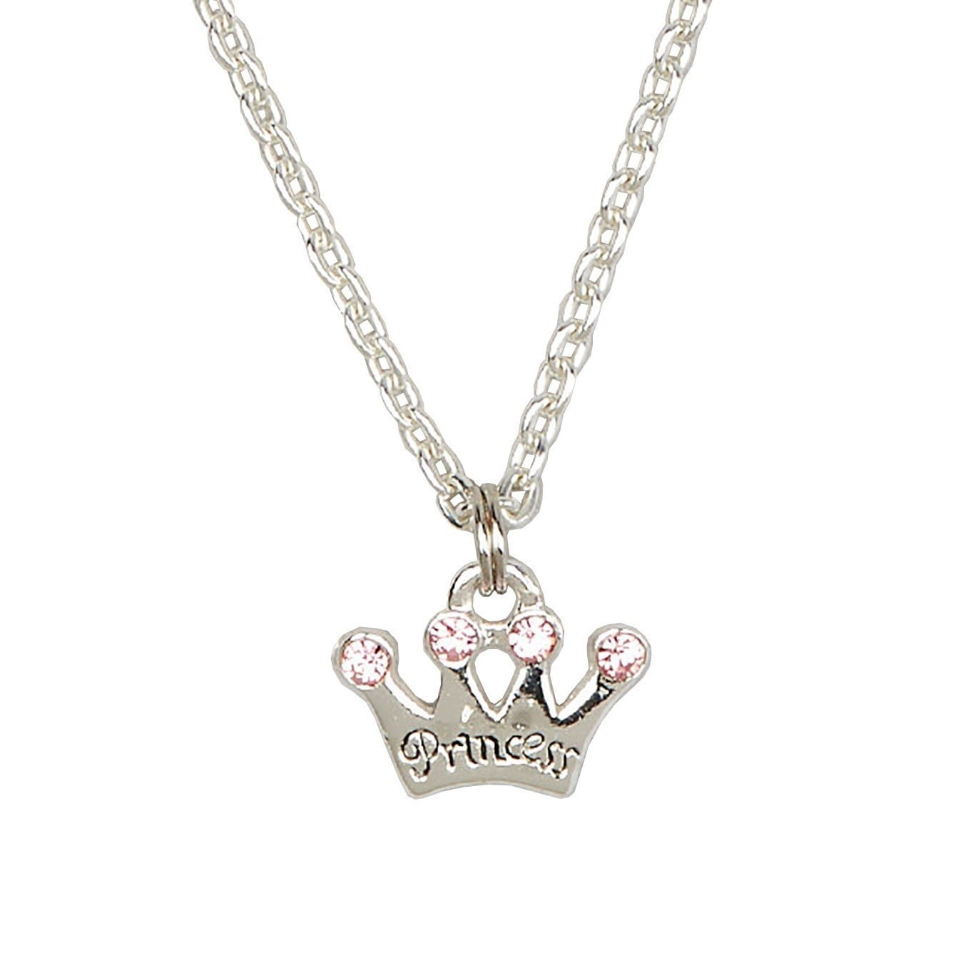Sterling Silver Pink Princess Crown Charm Child Necklace ...