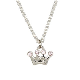 Sterling Silver Pink Princess Crown Charm Child Necklace