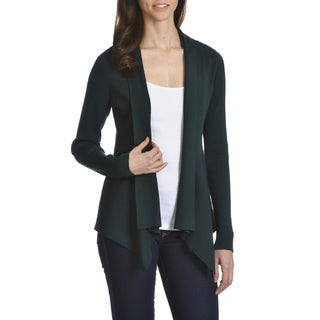 Verve Women's Ami Rayon/Polyester UneveN-hem Open Fly-away Cardigan