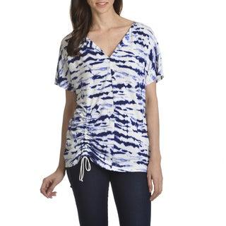 89th & Madison Women's Blue/White Polyester/Spandex Tie-dye Print Top
