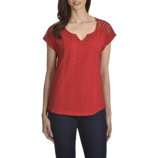 89th & Madison Women's Cotton/Polyester/Nylon Lace-front Top