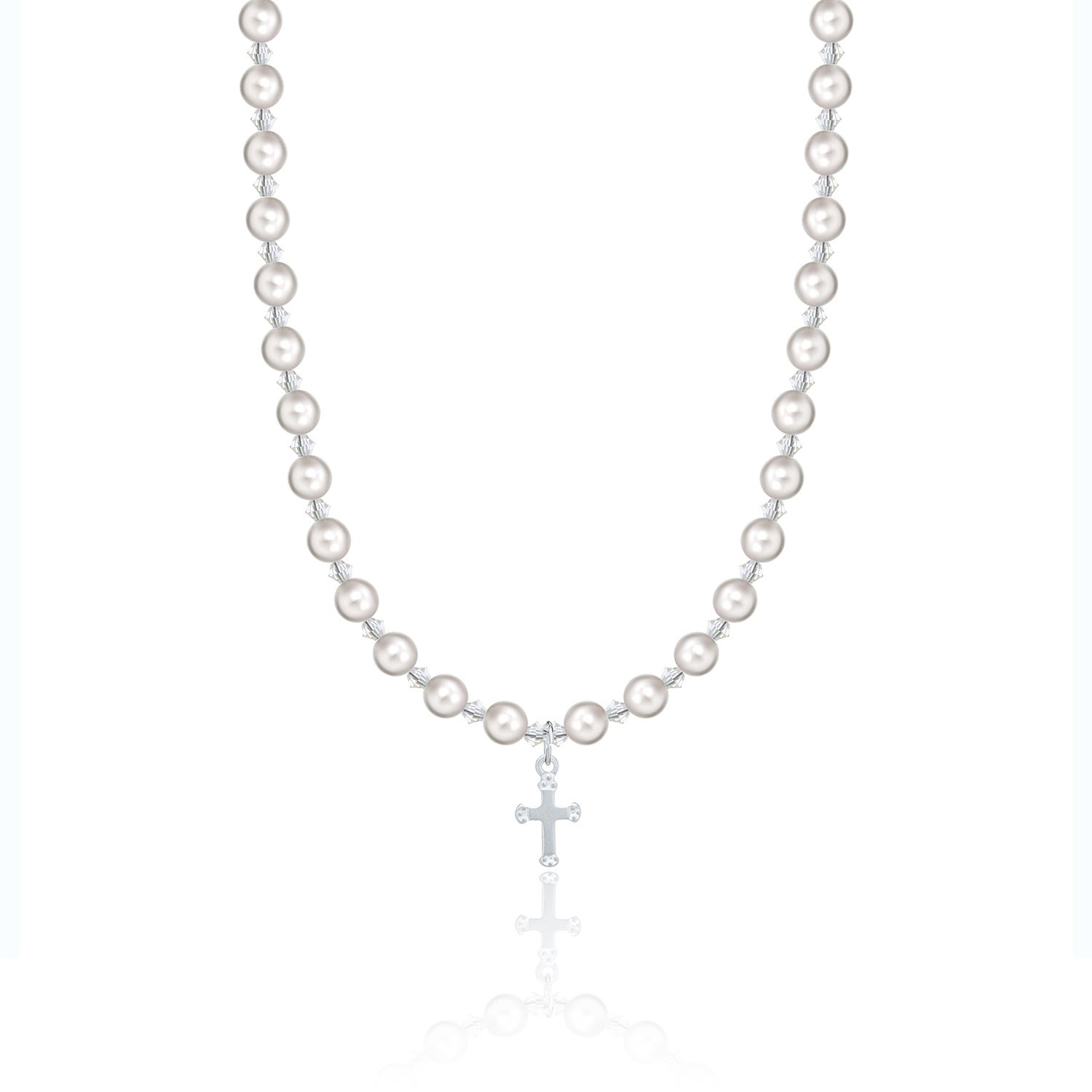 Baptism Christening White Pearls and Crystals Child Neckl...