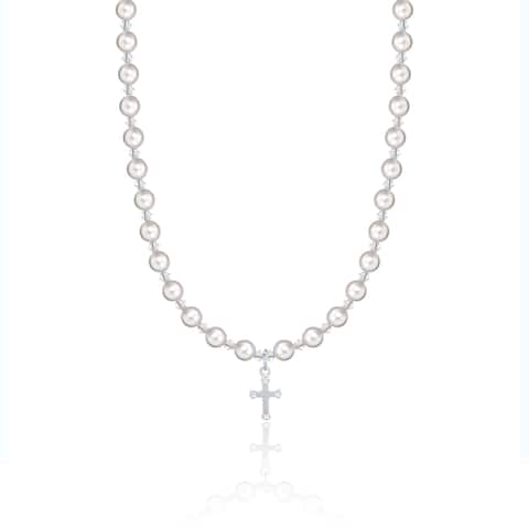 Baptism Christening White Pearls and Crystals Child Necklace with Cross Charm