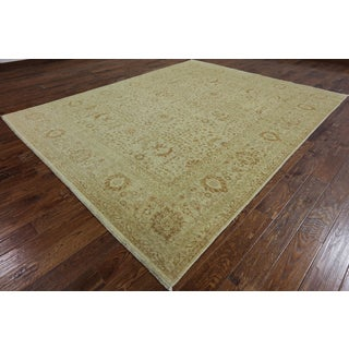 Oriental Peshawar Ivory Handknotted Wool Rug (8' 3 inches x 10' 1 inch)