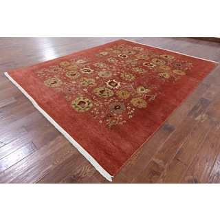 Oriental Peshawar Red Hand-knotted Wool Rug (8'2 x 9'10)
