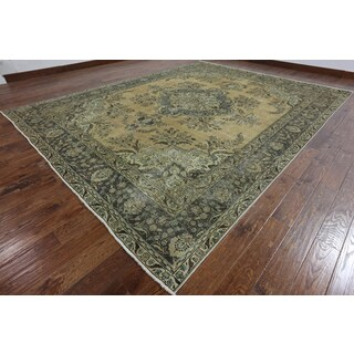 Oriental Overdyed Beige Wool Hand-knotted Rug (9'6 x 12'1)