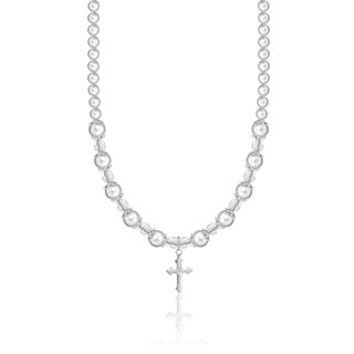 White Christening Pearls and Crystals Cross Charm Child Necklace