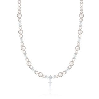 White Pearls and Crystals Sterling Silver Cross Charm Child Necklace