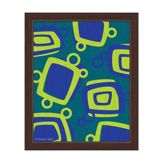 Green And Blue Bubbly Blocks Framed Canvas Wall Art
