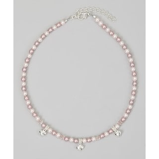 Crystal Dream Luxury Pink and Rose Pearl Puffy Hearts Infant Girl Sterling Silver Necklace