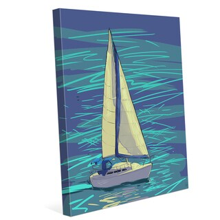 Sailing on Electric Blue Wall Art on Canvas