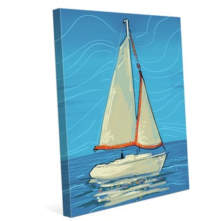 White and Red Sails Wall Art on Canvas