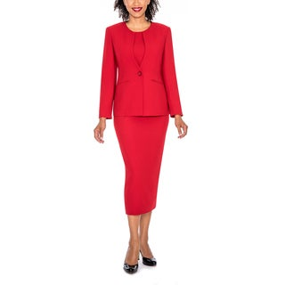 Giovanna Signature Women's Round Neck 2-pocket 3-piece Skirt Suit