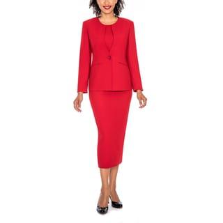 Giovanna Signature Women's Round Neck 2-pocket 3-piece Skirt Suit